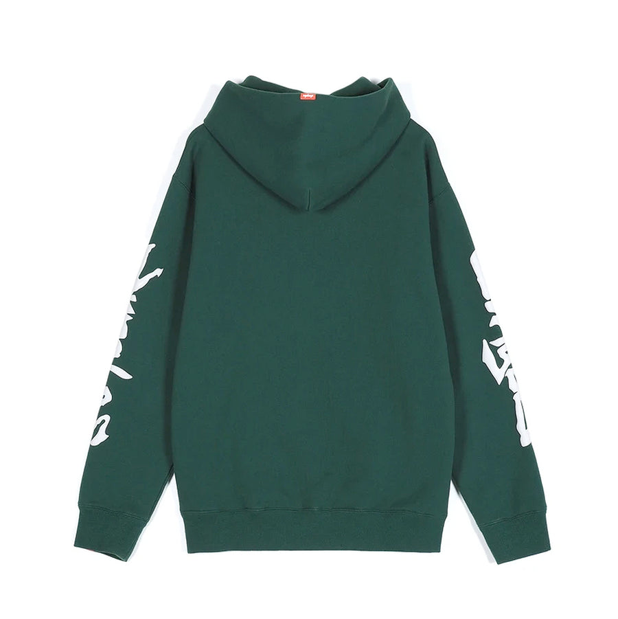 Jungles Chenille Embroidered Bin Fire Hoody Green