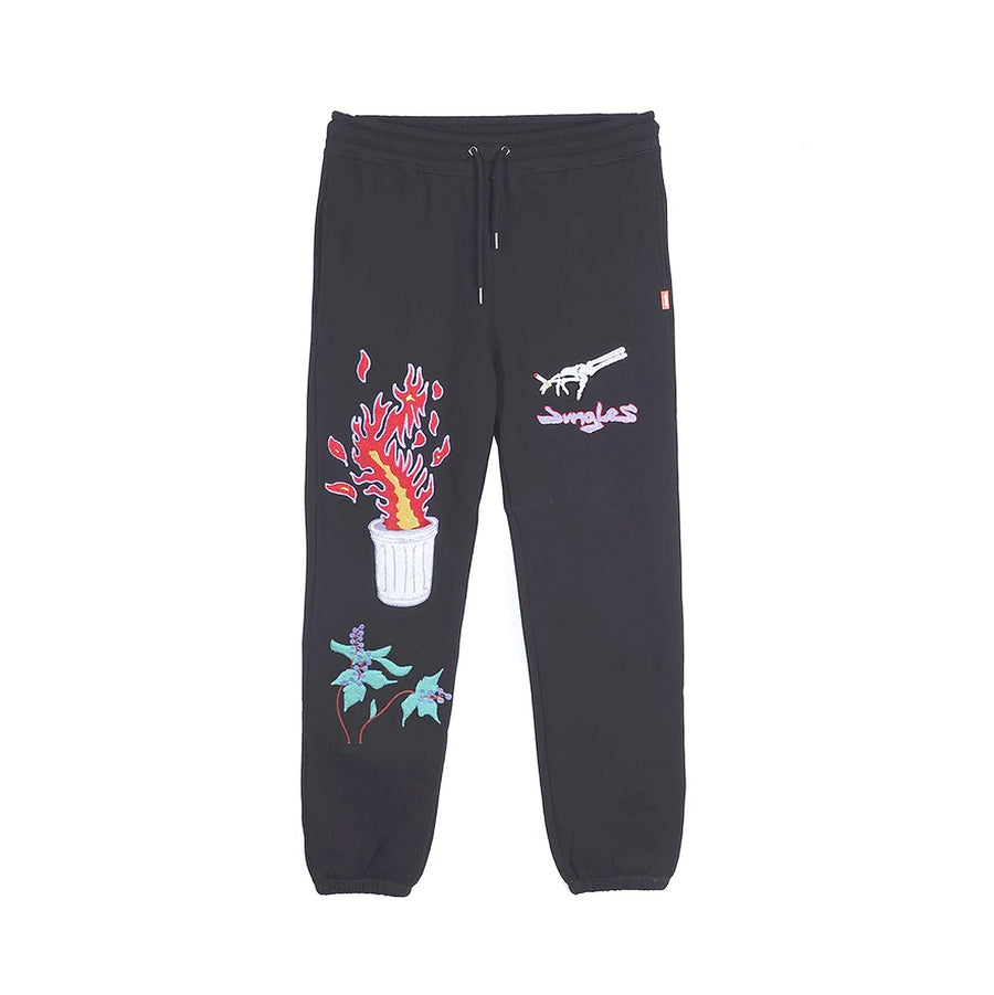 Jungles Chenille Embroidered Bin Fire Track Pants Black