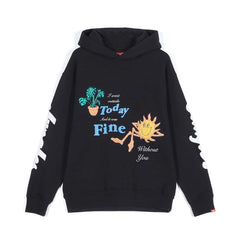 Jungles Chenille Embroidered Fine Without you Hoodie Black