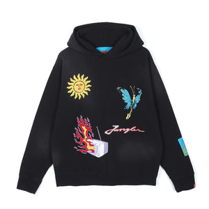 Jungles Chenille Embroidered Life Death Rebirth Hoodie Black