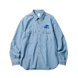 Liberaiders Peace Chambray Shirt Blue