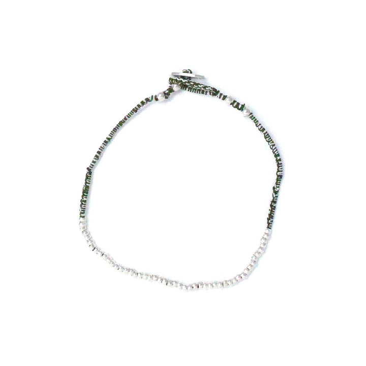 Mikia Small Silver Beads/Moss Agate Silk Bracelet