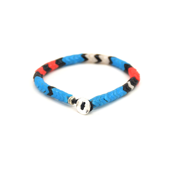 Mikia Snake Beads Bracelet Blue Glass/Brass