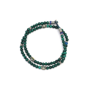 Mikia 4mm Stone Double Wrap Bracelet Malachite/Brass/Glass