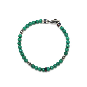 Mikia 4mm Stone Bracelet Malachite/Sterling Silver/Glass