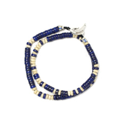 Mikia Roundel Beads Double Wrap Bracelet Lapis/River Stone/Sterling Silver