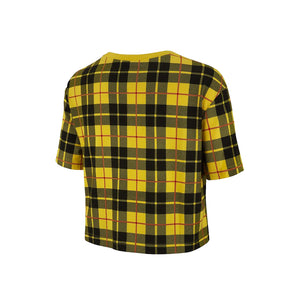 Nike Womens NSW Futura Plaid Crop Tee Yellow