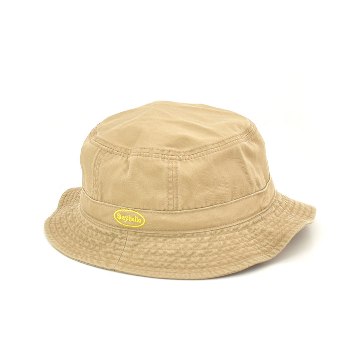 SAYHELLO Cash Logo Washed Cotton Hat Khaki