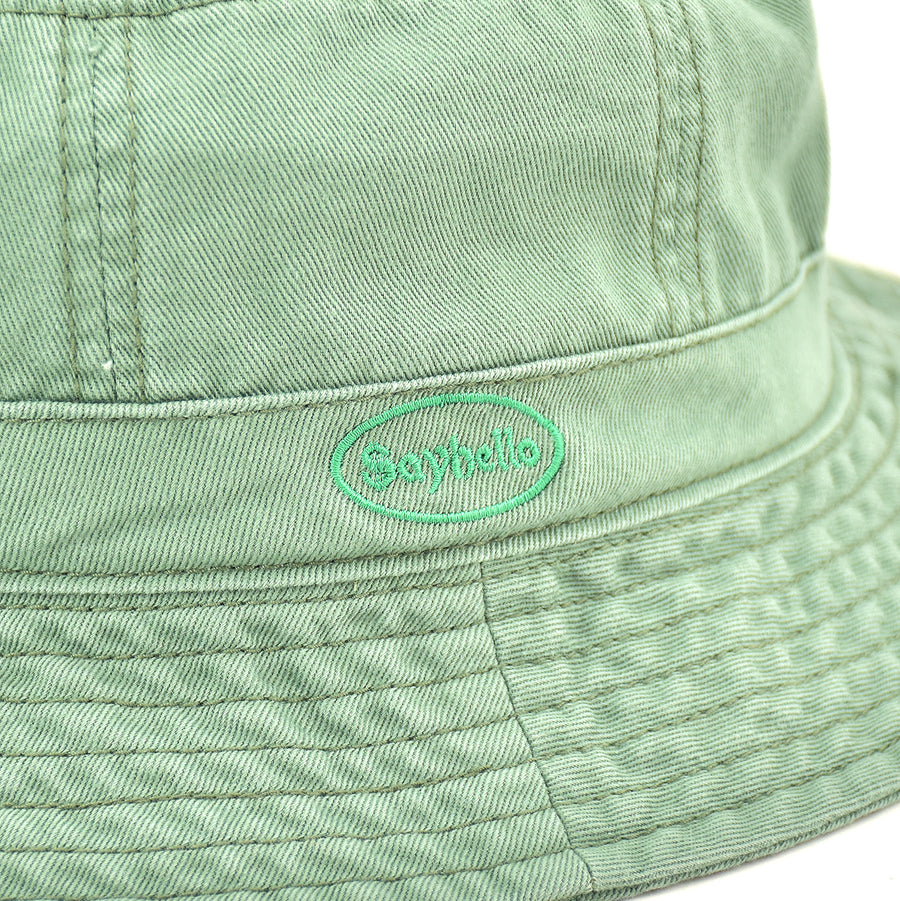 SAYHELLO Cash Logo Washed Cotton Hat Olive