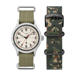Timex x Todd Snyder Military 40mm Cream/Olive w/Fabric Strap + Extra Strap