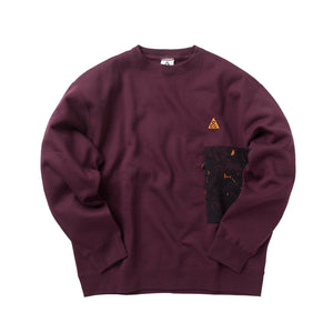 Nike ACG NRG Fleece Crewneck A.O.P Pocket Night Maroon CZ5102-643