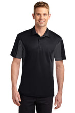 "Load image into Gallery viewer, Black/Gray Sport-Tek® Side Blocked Micropique Sport-Wick® Polo ""Traditional Fit"""