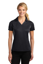 "Load image into Gallery viewer, Black/Gray Sport-Tek® Side Blocked Micropique Sport-Wick® Polo ""Feminine Fit"""