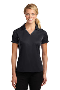 "Black/Gray Sport-Tek® Side Blocked Micropique Sport-Wick® Polo ""Feminine Fit"""