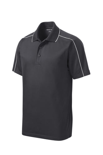 Gray/White Sport-Tek® Micropique Sport-Wick® Piped Polo - Equitas Health Polo - Traditional Fit