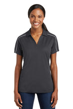 Load image into Gallery viewer, Gray/White Sport-Tek® Ladies Micropique Sport-Wick® Piped Polo