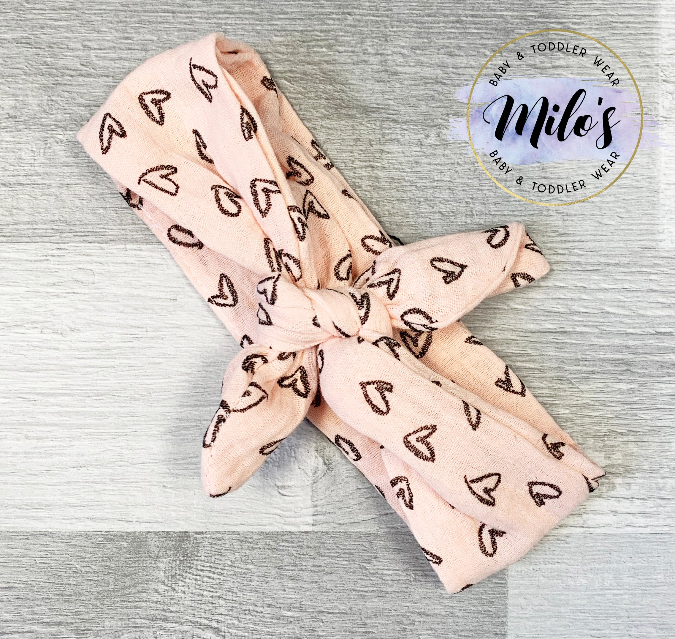 Pink Hearts Bow Headband
