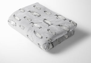 Grey Penguin Fleece Blanket