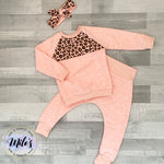 Pink Leopard Blocked Sweater