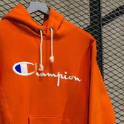 HOODED SWEATSHIRT WITH FULL CHEST LOGO BURNT ORANGE