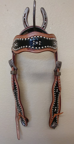 Black Inlay Headstall with Silver Dots