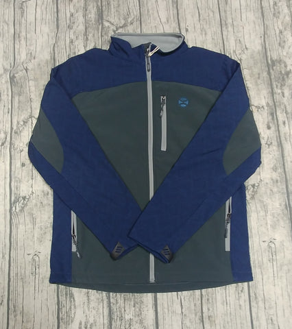 HOOEY Mens Softshell Jacket, Charcoal and Navy Sleeves