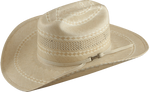 American Hat Co 1077 Two Tone Vented Straw Cowboy Hat - Ivory/Tan