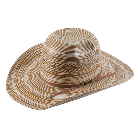 American Hat Co 1080 Fancy Weave and Vent Straw Hat - Ivory/Tan