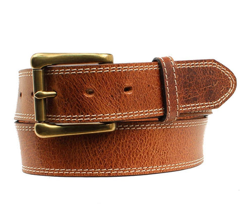 "Western Men Belt Leather ""Houston"" Made in The USA Tan"