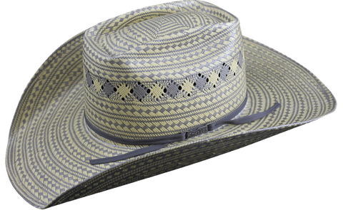 American Hat Co 3100 Two Tone Fancy Vent Straw Cowboy Hat - Grey/Wheat