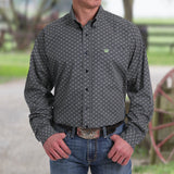 CINCH MEN'S GREEN AND BLACK DIAMOND PRINT BUTTON-DOWN WESTERN SHIRT