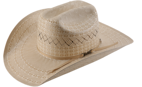 American Hat Co 6400 Two Tone Diamond Weave and Vent Straw Cowboy Hat - Ivory/Tan