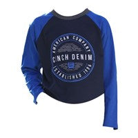 BOY'S CINCH NAVY & ROYAL LONG SLEEVE TEE
