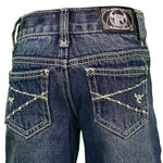 Toddler/Boy's Cowboy Hardware Logo Barbwire Embroidered Dark Wash Jean