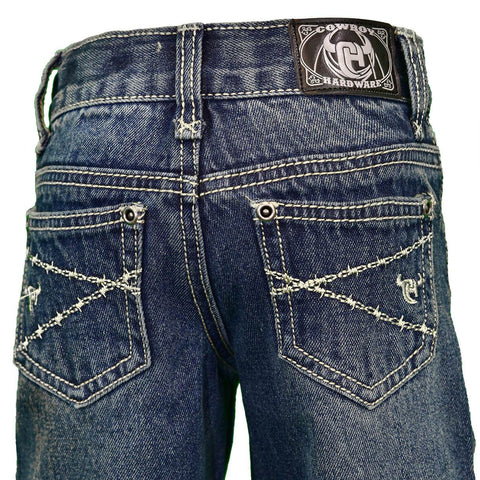 Boy's Cowboy Hardware Logo Barbwire Embroidered Dark Wash Jean