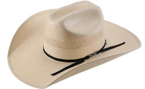 American Hat Co 7104 Solid Weave Fancy Vent Shantung Straw Cowboy Hat - Ivory