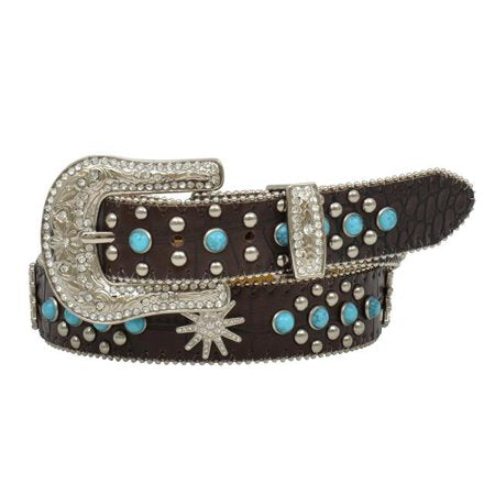 Girl's Angel Ranch Western Belt- Spur Rowel Conchos Leather Brown