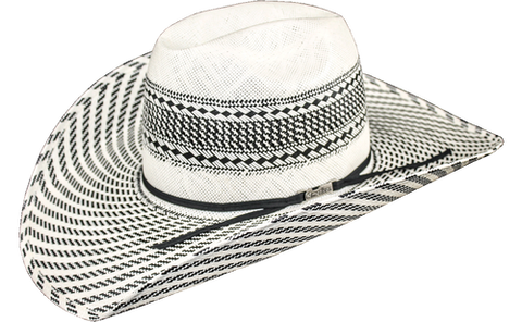 American Hat Co 7500 Vented Straw Cowboy Hat - Ivory/Black Swirl Pattern Brim