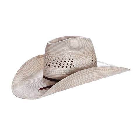 American Hat Co 7700 Two Tone Fancy Vent Straw Hat - Ivory/Tan