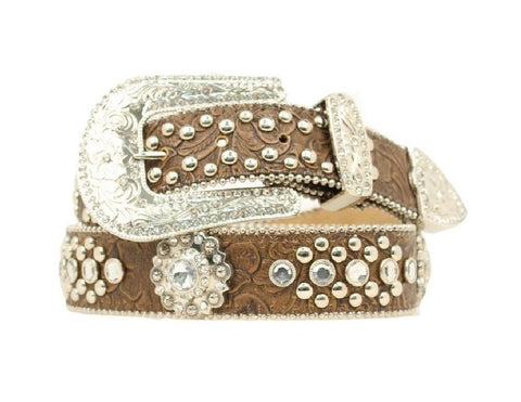 Western Belt Womens Floral Crystals Saddle Brown
