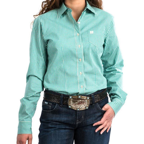 WOMEN'S CINCH WESTERN SHIRT BUTTON LONG SLEEVE TURQUOISE