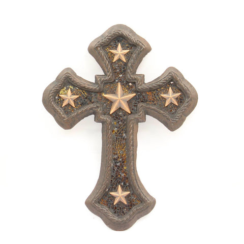 CAST IRON WALL CROSS WITH STARS