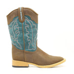 Double Barrel Cowboy Boots Kid Brown/Turq