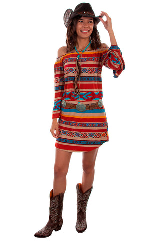 Scully Women's Honey Creek by Serape Off Shoulder Long Sleeve Dress