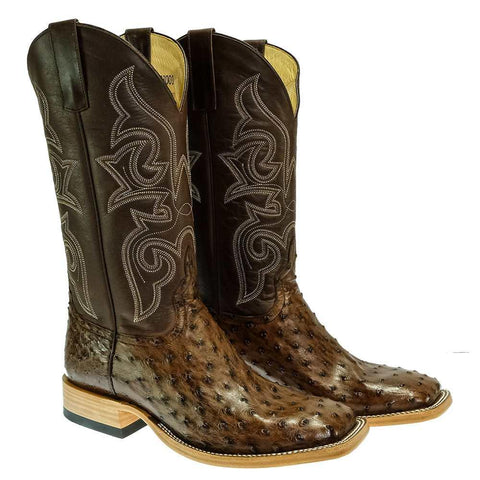 Horsepower HP8001 Kango Tobacco Full Quill Ostrich Brown Antique Men's Cowboy Boots