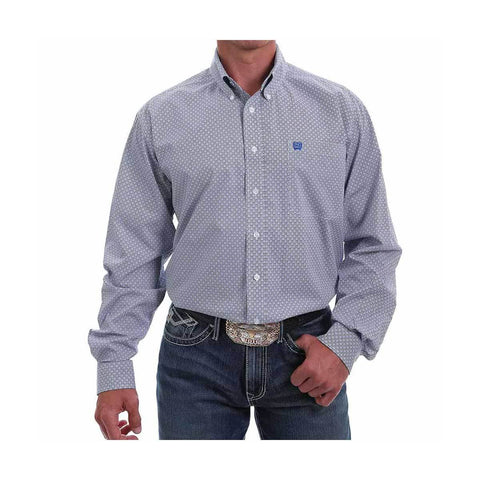 Men's Cinch Blue Button Up Circle Print Shirt