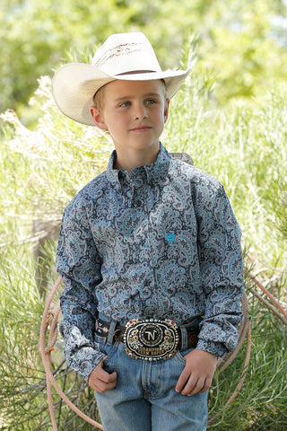Youth Cinch Paisley Button Down Long Sleeve