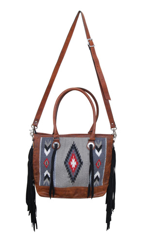 Tote Bag Brown Leather with Grey Wool and Tassels. Brown Fringe