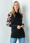 Solid Geometric Long Sleeve Crowl Sweater
