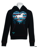 Cowgirl Hardware Toddler & Girls' Black with Turquoise Serape Heart and Horse Hoodie
